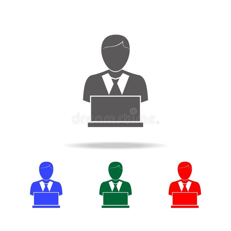 Gente con el ordenador, persona con el icono del ordenador portátil Elementos del recurso humano en iconos coloreados multi Negoc ilustración del vector
