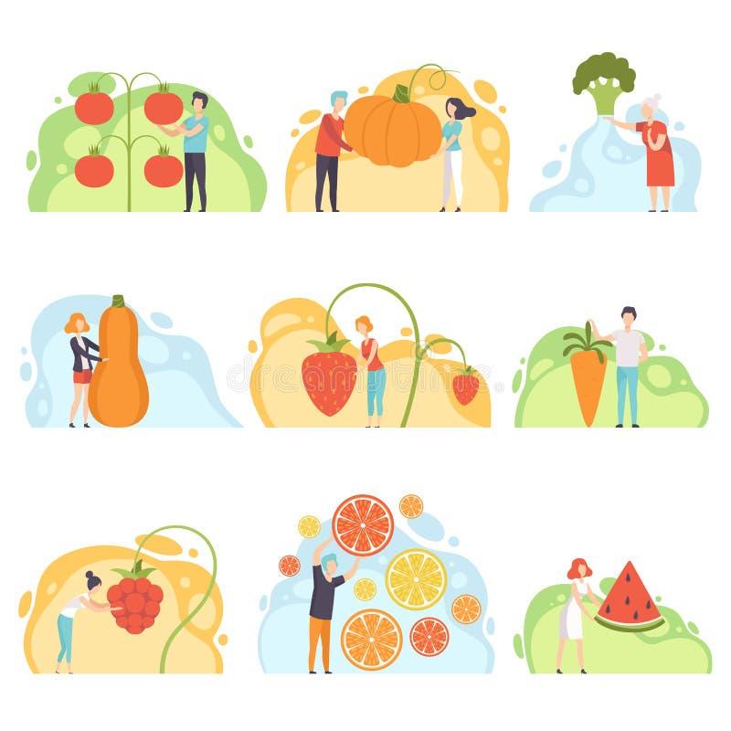 Gente con el sistema gigante de las verduras, la situación anónima del hombre y de la mujer al lado de verduras enormes y del vec libre illustration