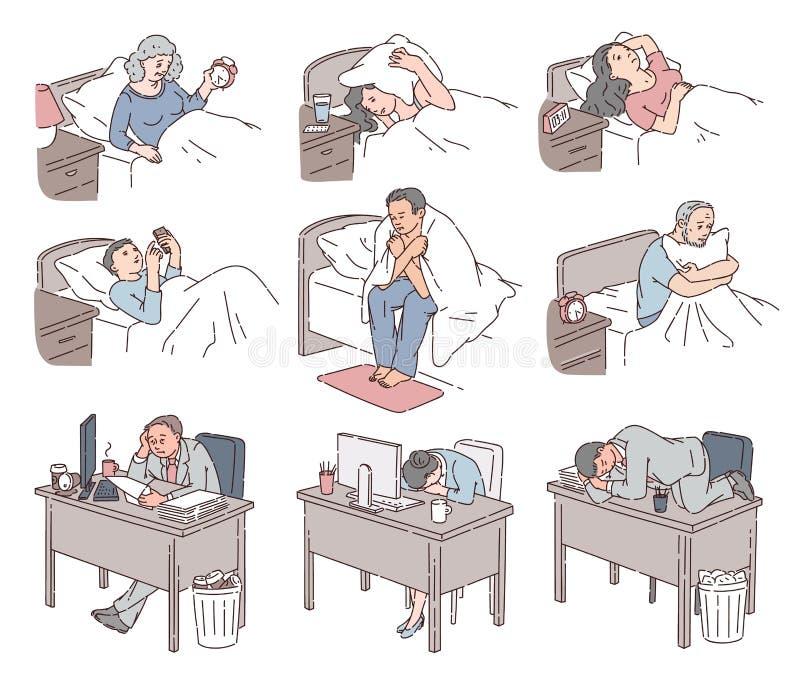 Gente con el sufrimiento del insomnio de ningún sueño en la noche ilustración del vector
