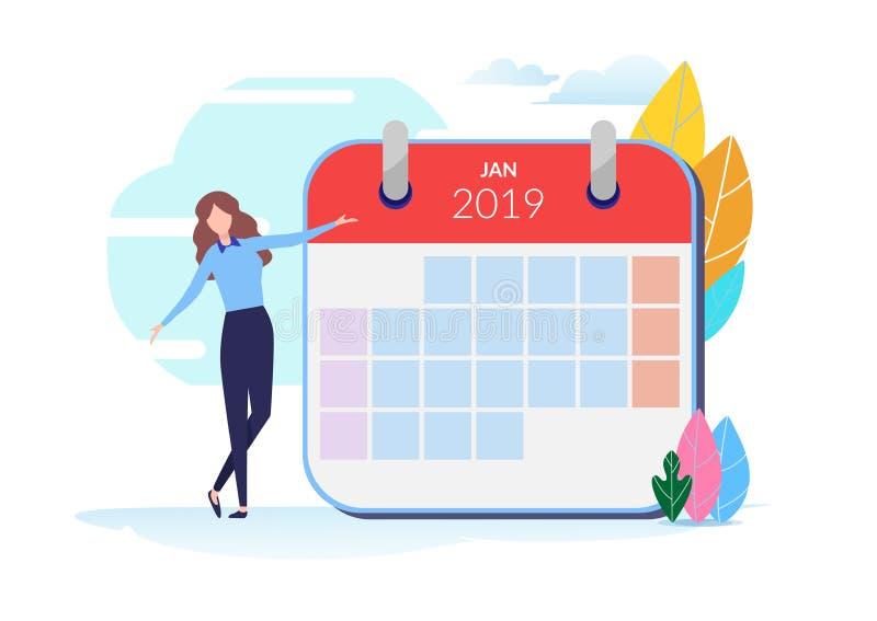 Gente con horario de 2019 calendarios Ejemplo del vector de la gente Diseño gráfico del personaje de dibujos animados plano Plant libre illustration