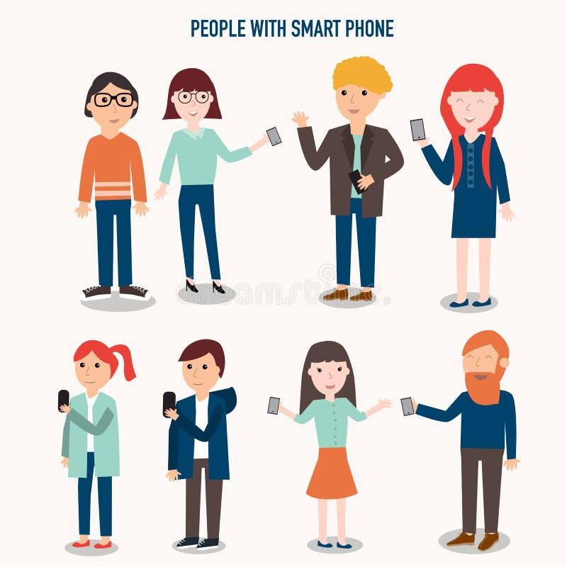 Gente con infographics del smartphone libre illustration