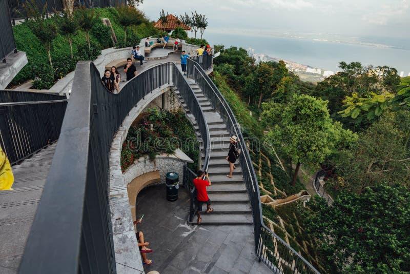 Gente con la escalera de la colina de Penang en George Town Penang, Malasia imagen de archivo libre de regalías