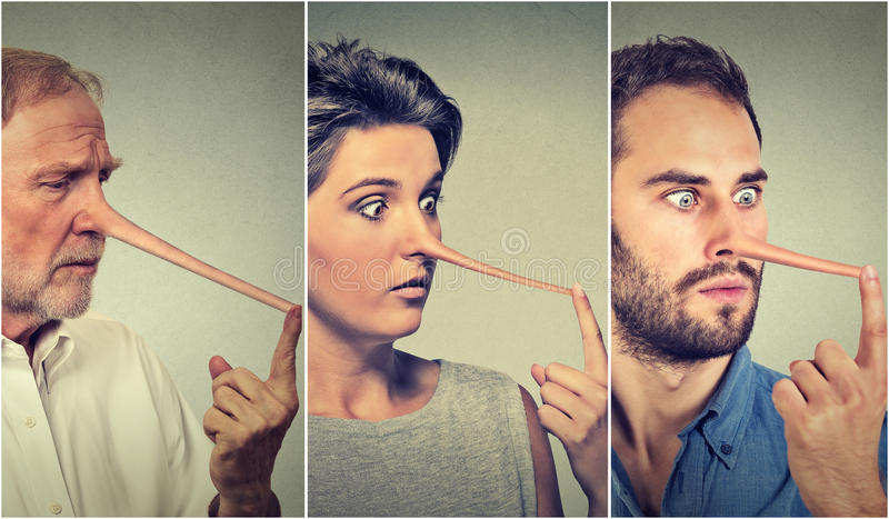 Gente con la nariz larga Concepto del mentiroso fotos de archivo libres de regalías
