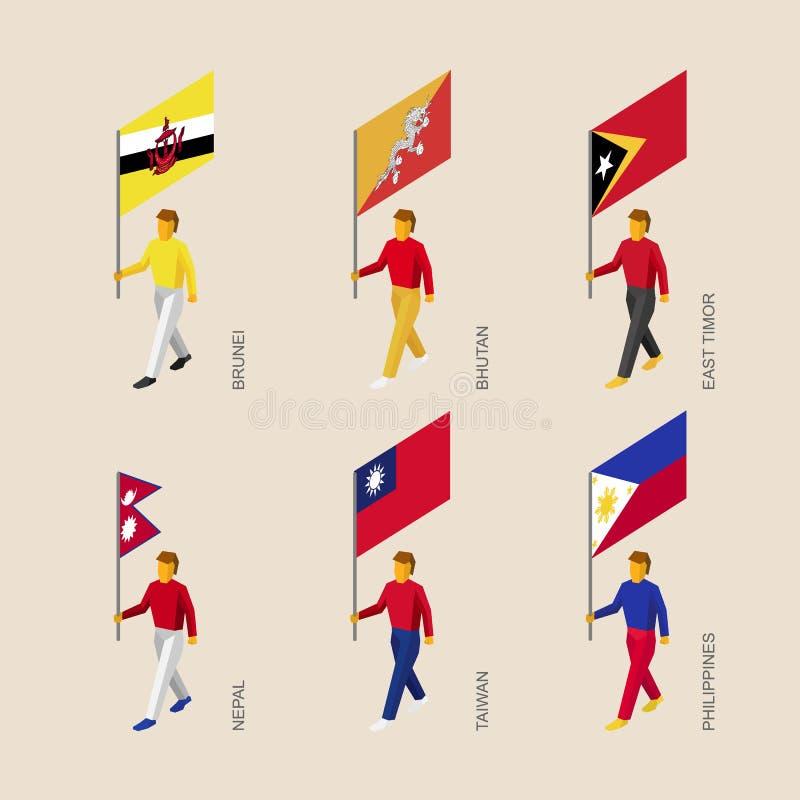 Gente con las banderas Butan, Brunei, Timor Oriental, Nepal, Taiwán, Phil stock de ilustración