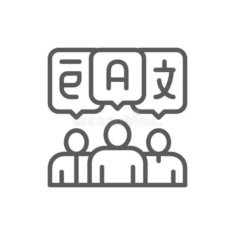 Gente con las burbujas de la charla, idioma extranjero, traducci?n, l?nea icono de la conversaci?n stock de ilustración