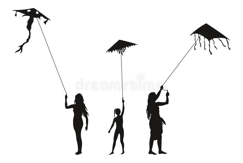 Gente con las cometas del vuelo, siluetas ilustración del vector