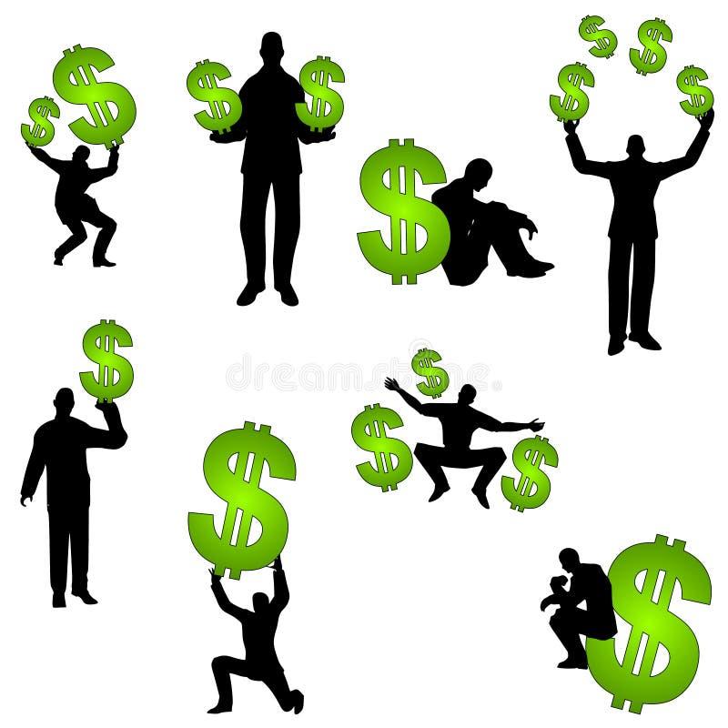 Gente con las muestras de dólar del dinero libre illustration