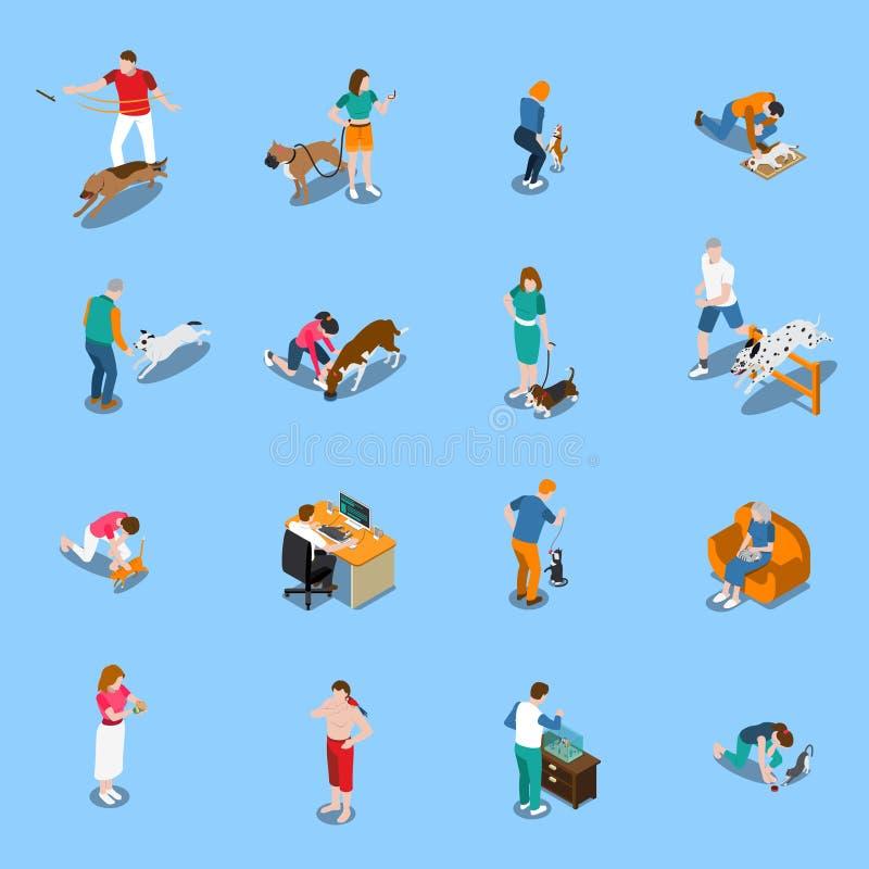 Gente con los animales domésticos fijados libre illustration