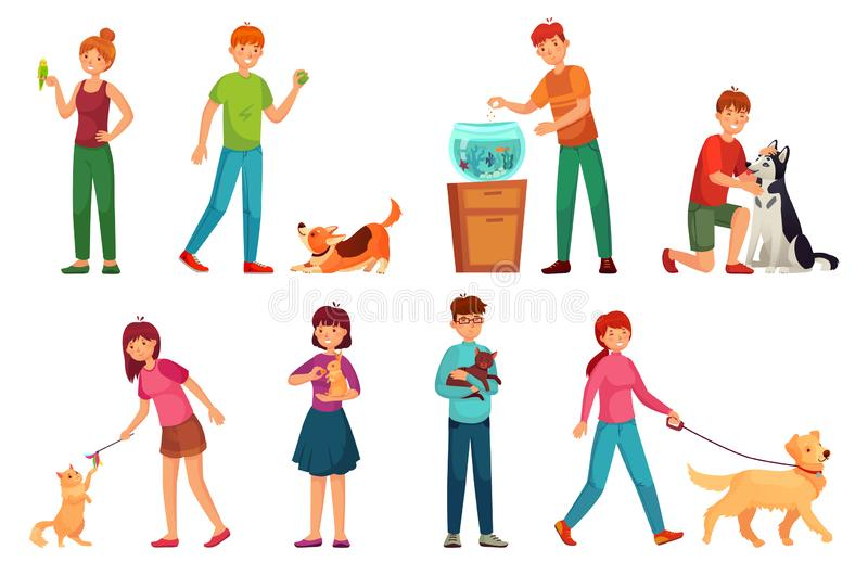 Gente con los animales dom?sticos Jugando con el perro, el animal doméstico feliz y el sistema del ejemplo del vector de la histo stock de ilustración