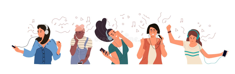 Gente con los auriculares Los muchachos y las muchachas de Yong escuchan la música y disfrutan del sonido Sistema exhausto de los libre illustration