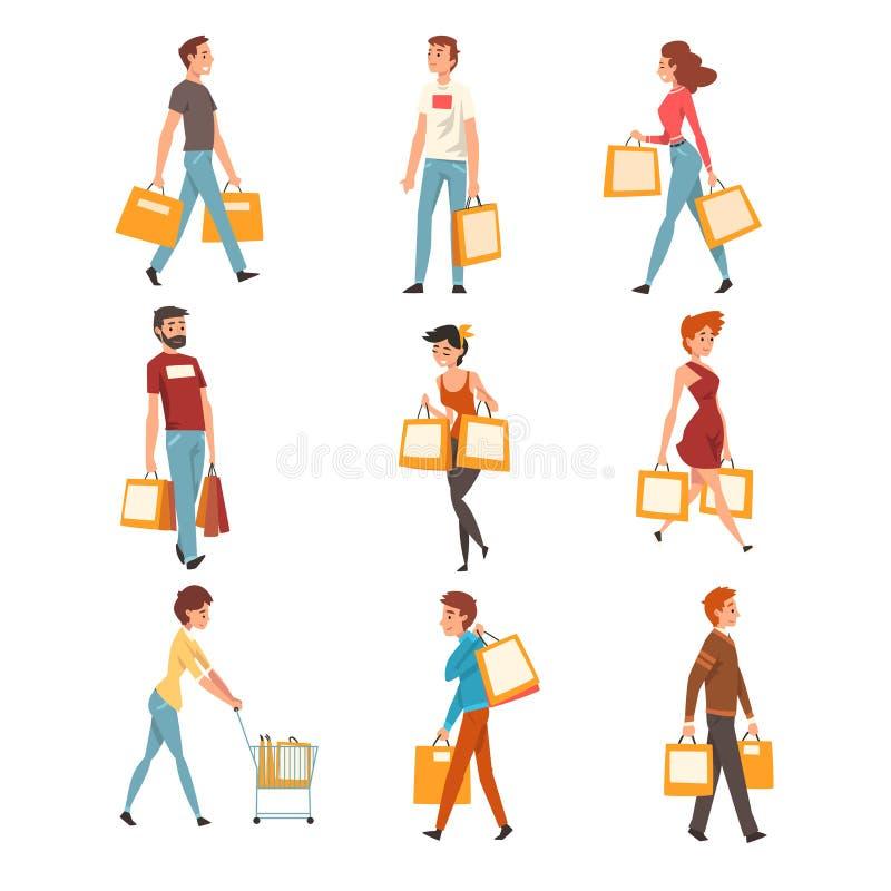 Gente con los bolsos de compras fijados, hombres jovenes y mujeres que disfrutan de compras y de la compra de mercancías o del ve ilustración del vector