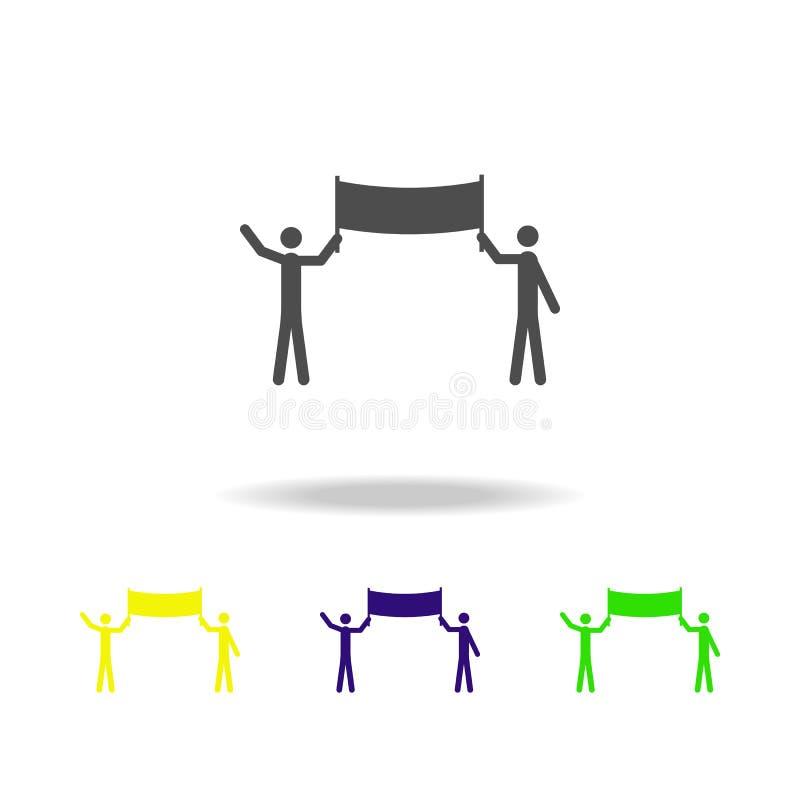 gente con los iconos multicolores de los carteles Elementos del icono de la protesta y de las reuniones Muestras e icono para los stock de ilustración