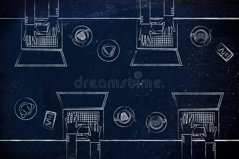 Gente con los ordenadores portátiles y los cafés ilustración del vector