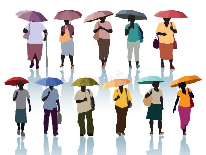 Gente con los paraguas ilustración del vector