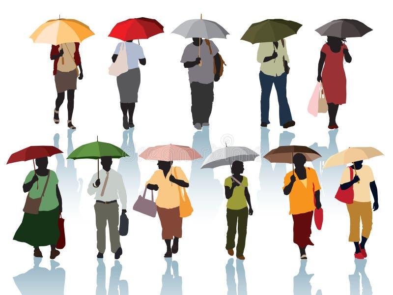 Gente con los paraguas libre illustration