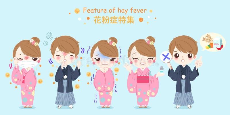 Gente con problema de la fiebre de heno stock de ilustración