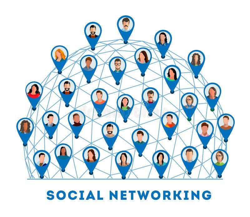 Gente conectada y red social stock de ilustración