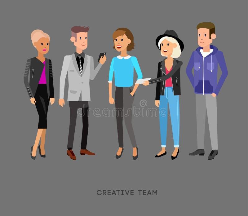 Gente creativa del equipo Trabajo en equipo, director de arte y diseñador stock de ilustración