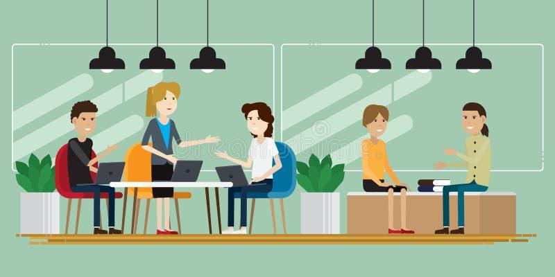 Gente creativa del grupo que trabaja en el funcionamiento del co stock de ilustración