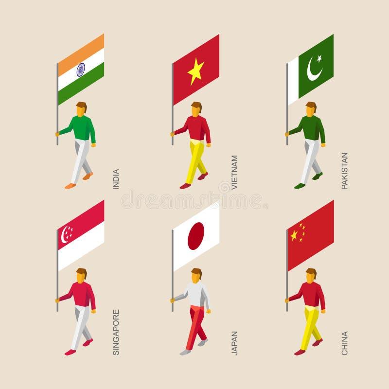 gente 3d con las banderas la India, Vietnam, China, Singapur, Paquistán, stock de ilustración