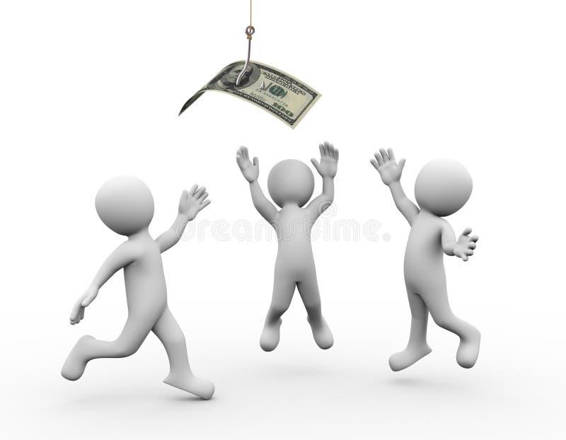 gente 3d y dinero en el gancho de pesca stock de ilustración