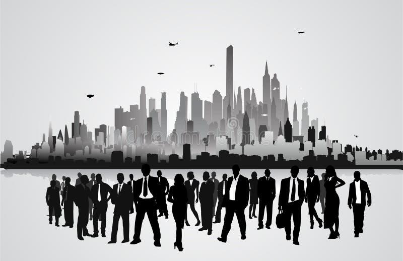 Gente de negocio delante de la ciudad ilustración del vector