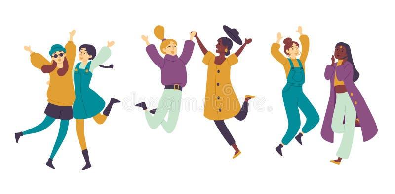 Gente de baile, muchachas asi?ticas de los bailarines de sexo femenino que se divierten Mujeres jovenes que disfrutan del baile libre illustration