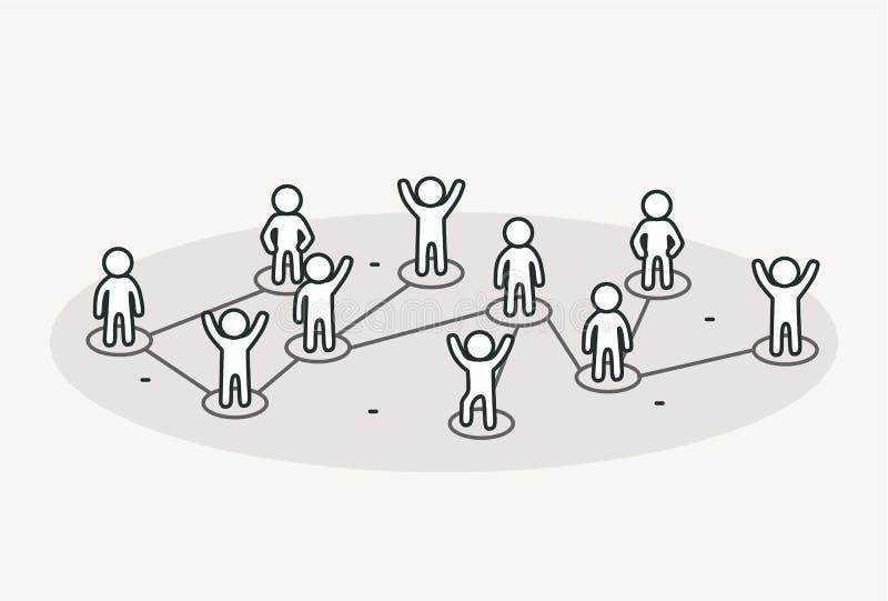 Gente de conexión Concepto social de la red stock de ilustración