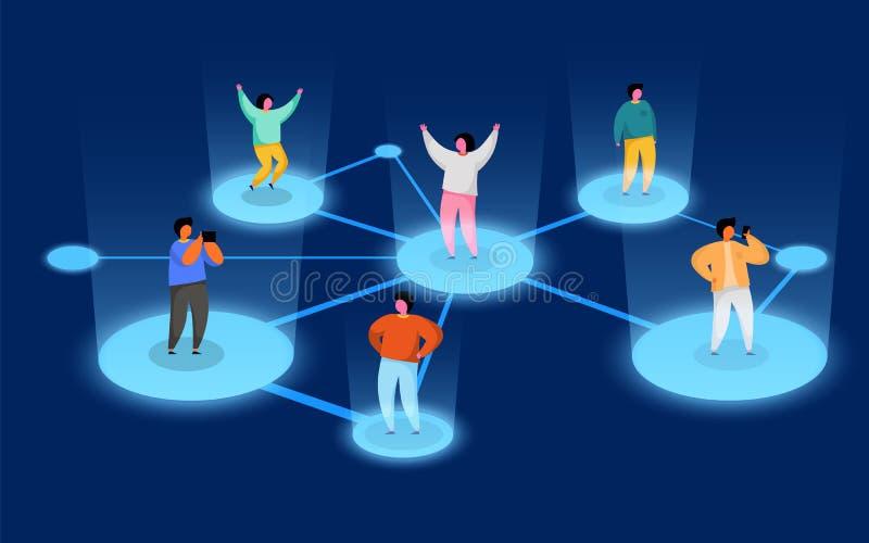 Gente de conexi?n Concepto social de la red Refiera un programa del amigo stock de ilustración