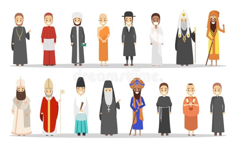 Gente de diversa religión Colección de hombres religiosos stock de ilustración