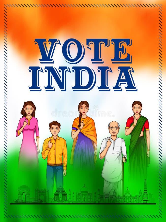 Gente de diversa religión que muestra el finger de votación para la elección general de la India ilustración del vector
