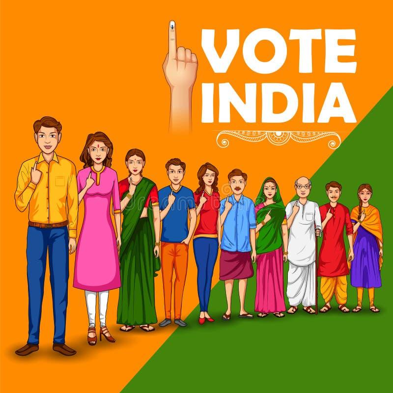 Gente de diversa religión que muestra el finger de votación para la elección general de la India stock de ilustración