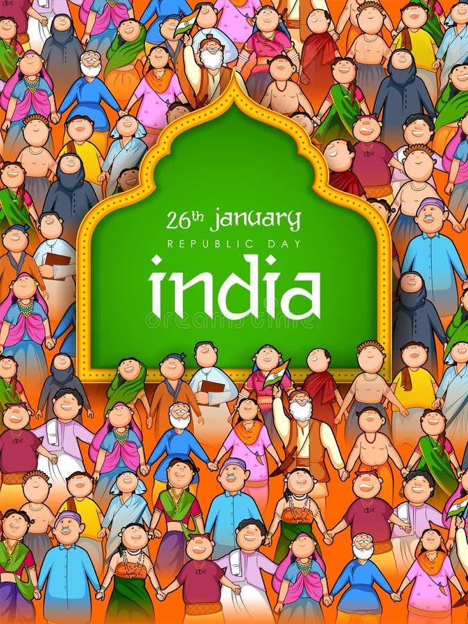 Gente de diversa religión que muestra la unidad en diversidad en el día feliz de la república de la India ilustración del vector