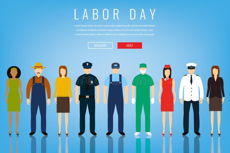 Gente de diversos empleos Profesiones fijadas Día del Trabajo internacional Plantilla del sitio web del concepto Vector plano ilustración del vector