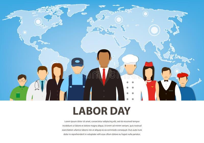Gente de diversos empleos Profesiones fijadas Día del Trabajo internacional Vector plano libre illustration