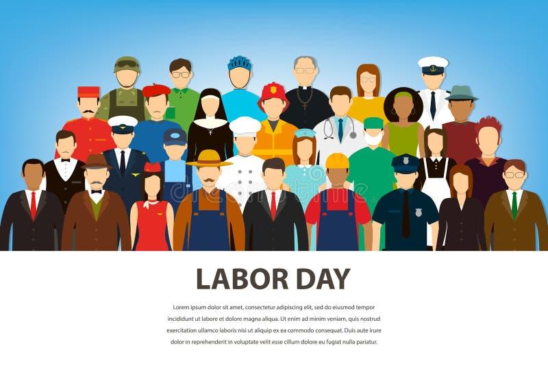 Gente de diversos empleos Profesiones fijadas Día del Trabajo internacional Vector plano ilustración del vector