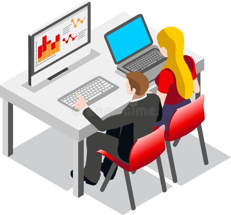 Gente de Isometic del conjunto de datos de negocio stock de ilustración