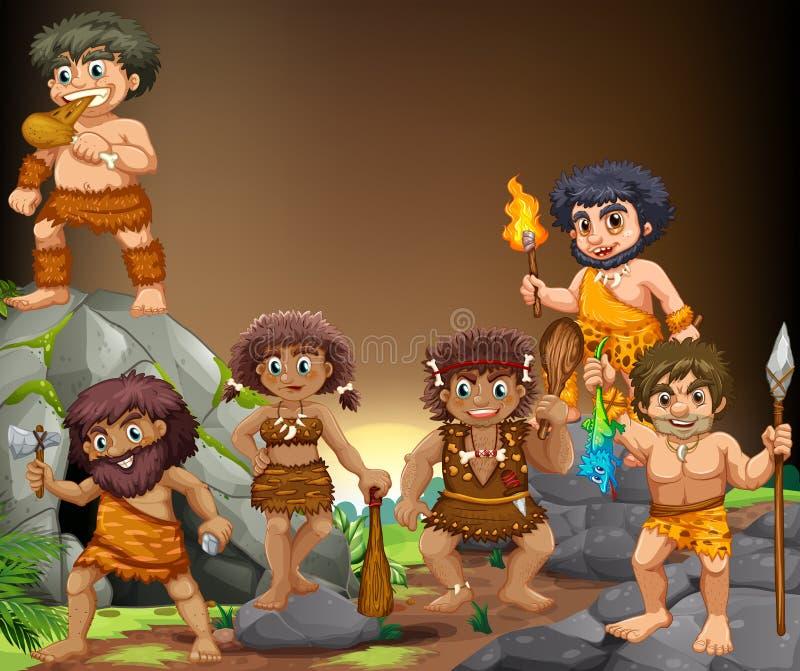 Gente de la cueva que vive en la cueva stock de ilustración