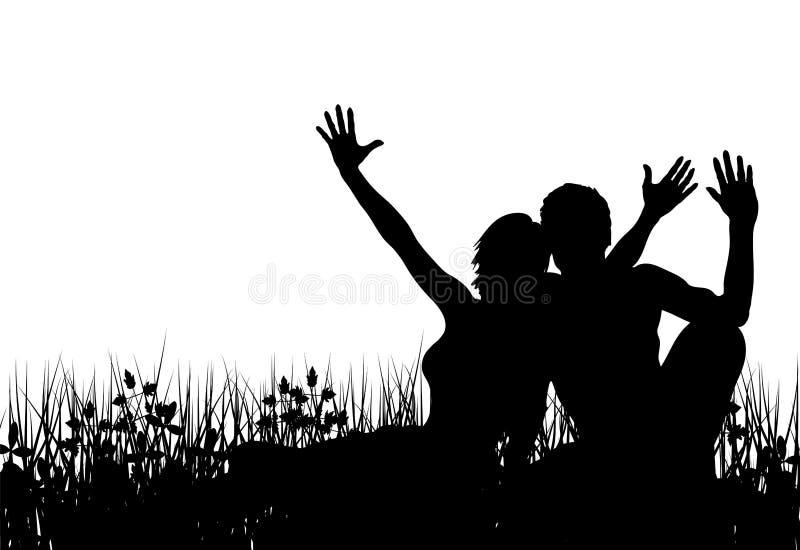 Gente de la hierba stock de ilustración