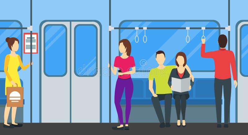 Gente de la historieta en cartel de la tarjeta del metro Vector libre illustration