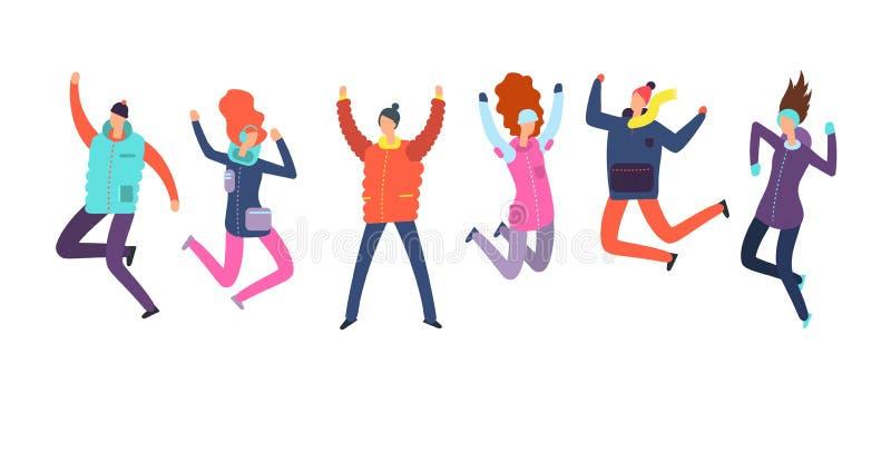 Gente de la historieta en el salto de la ropa del invierno Concepto feliz del vector de las vacaciones del día de fiesta de la Fe ilustración del vector