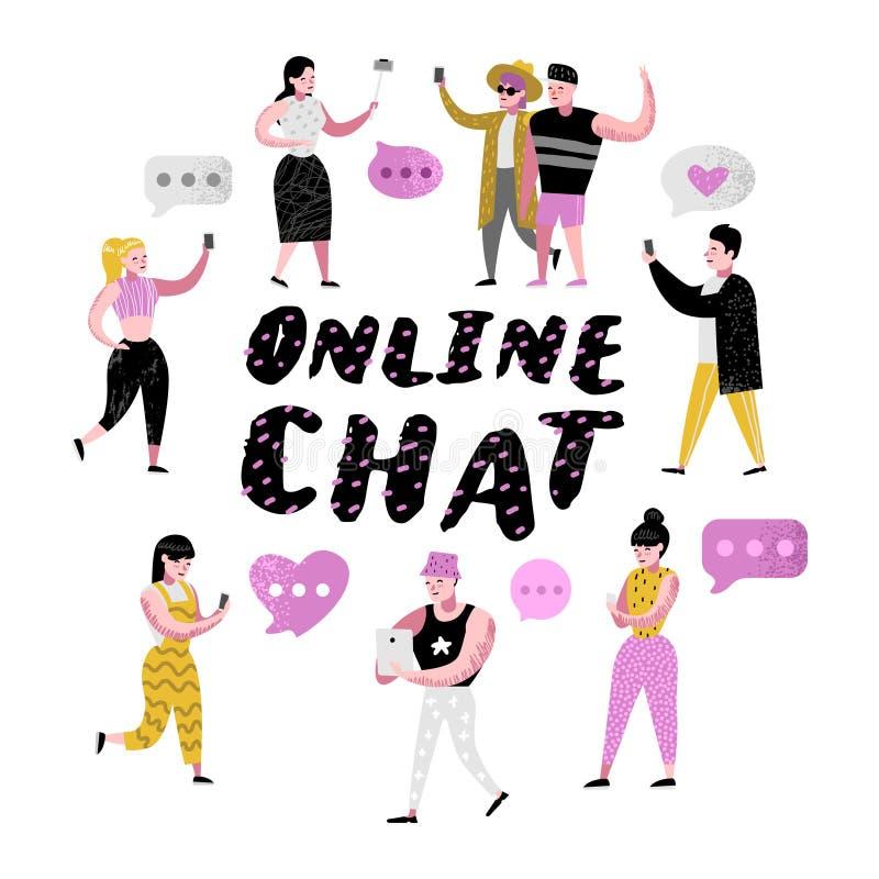 Gente de la historieta que usa las aplicaciones móviles para en línea charlar Hombre y mujer que comunican en redes sociales libre illustration