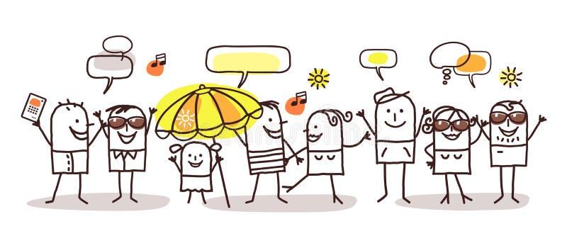 Gente de la historieta y tiempo de verano ilustración del vector