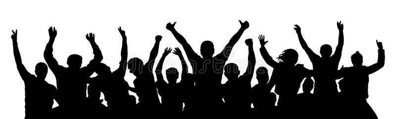 Gente de la muchedumbre de la alegría, pulgar para arriba Celebración del partido de la silueta libre illustration