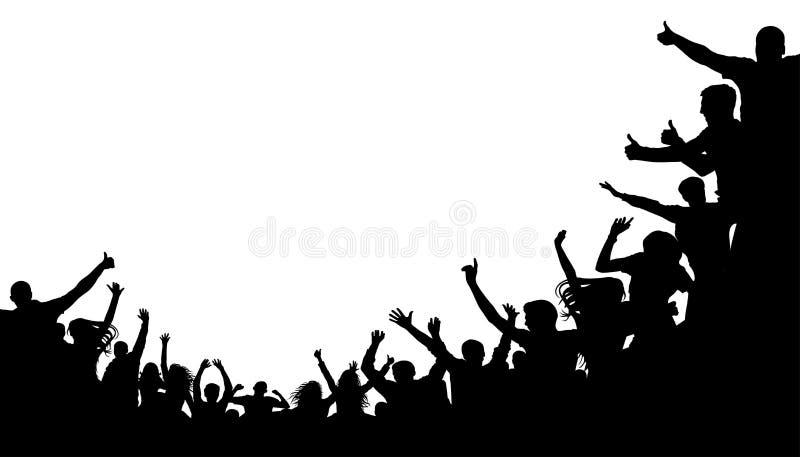 Gente de la muchedumbre, el animar de la fan Fondo del fútbol del ejemplo, silueta del vector Multitud total en el estadio stock de ilustración