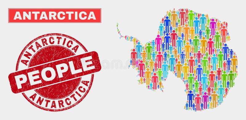 Gente de la población del mapa de la Antártida y sello continentes del sello del Grunge ilustración del vector