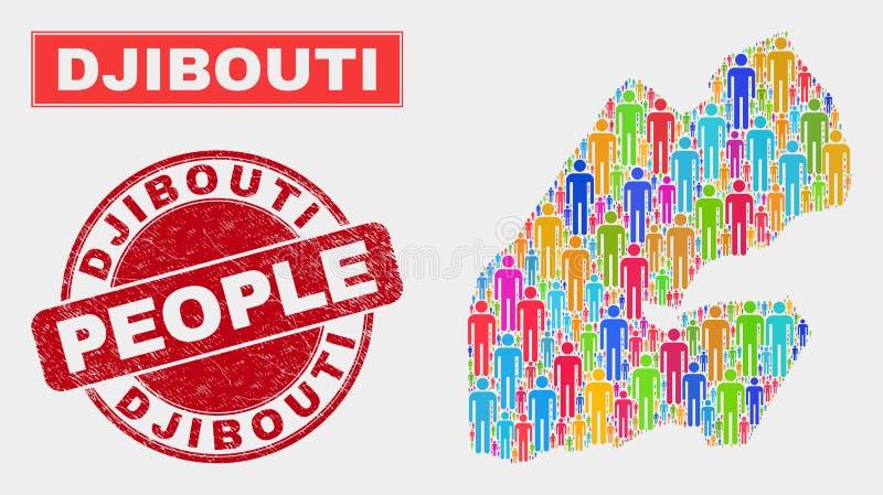 Gente de la población del mapa de Djibouti y filigrana sucia stock de ilustración