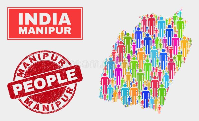 Gente de la población del mapa del estado de Manipur y filigrana corroída stock de ilustración