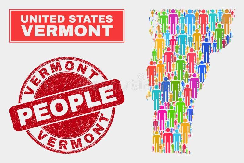 Gente de la población del mapa del estado de Vermont y sello sucio stock de ilustración