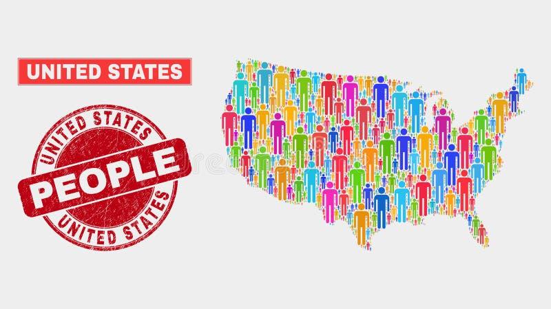 Gente de la población del mapa de Estados Unidos y sello sucio del sello ilustración del vector